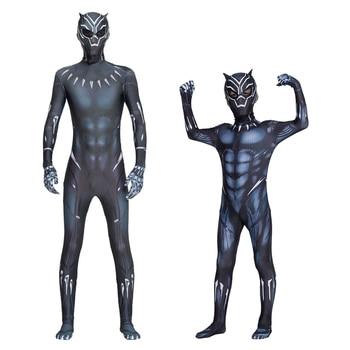 Halloween Black Kids Panther Men Costume Boy Adult Children Cosplay Jumpsuit Bodysuit