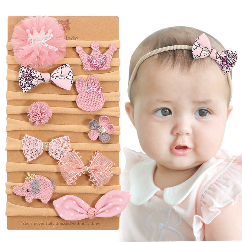 10pcs/lot New Fashion Kids Girls Cute Pink Bow Flower No Trace Hairband Gauze Mesh Hairpin Headband Children Hair Accessories
