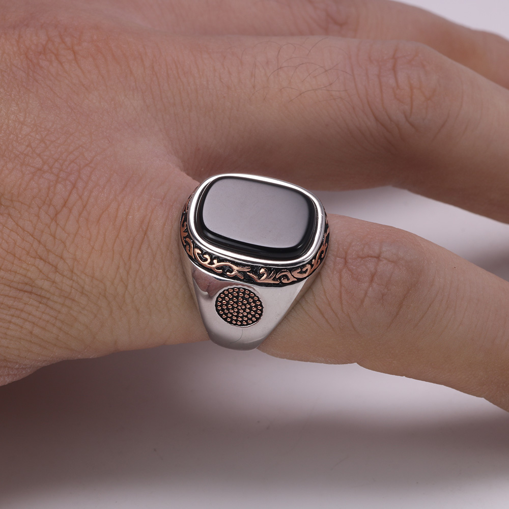 Image 4 - Real Pure Mens Rings Silver s925 Retro Vintage Turkish Rings For Men With Natural Black Onyx Stones Turkey JewelryRings   -