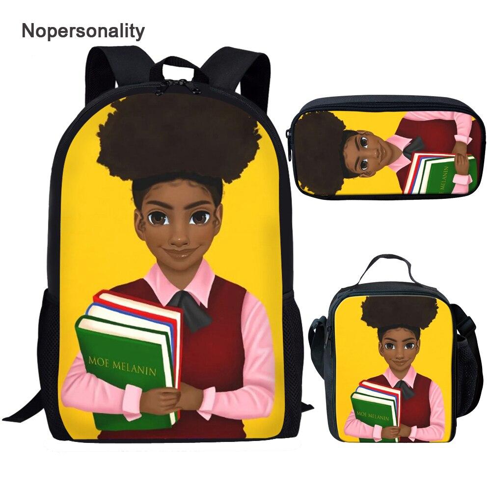 Mochila para Mochilas Crianças dos Desenhos Animados da Arte Twoheartsgirl Crianças Conjuntos Menina Negra Magia Bookbags Mochila Preto Americano Africano