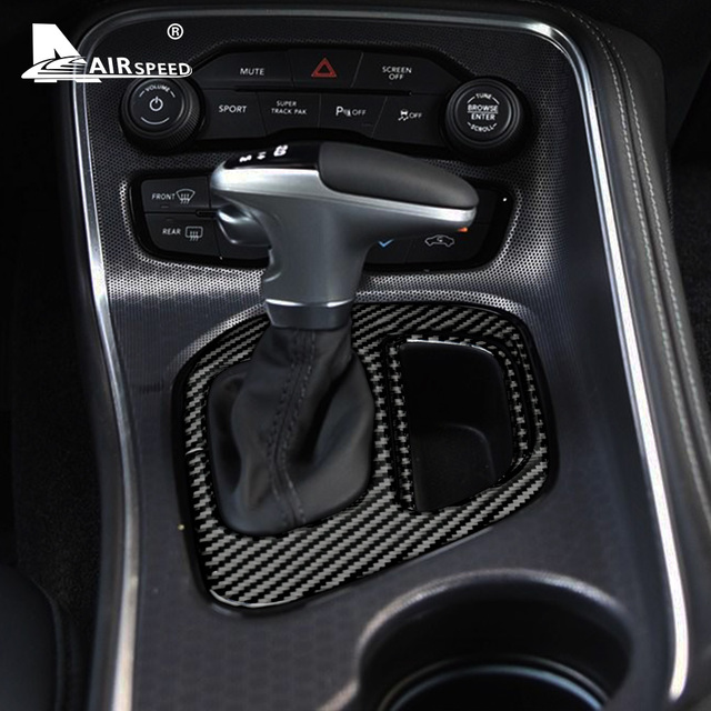AIRSPEED Carbon Fiber for Dodge Challenger 2015 2016 2017 2018 2019 2020 Accessories Interior Car Gear Shift Panel Cover Sticker 2