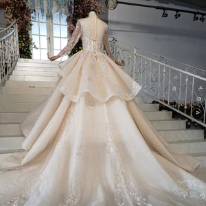 Image 4 - HTL958 luxury ball gown wedding dresses cathedral v neck appliques wedding gowns button back champagne vestidos novias boda 2020