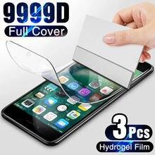 Protetor de tela para iphone 7 8 plus 6 6s se 2 capa completa película protetora macia de hidrogel no iphone 11 x xr xs max 12 pro max