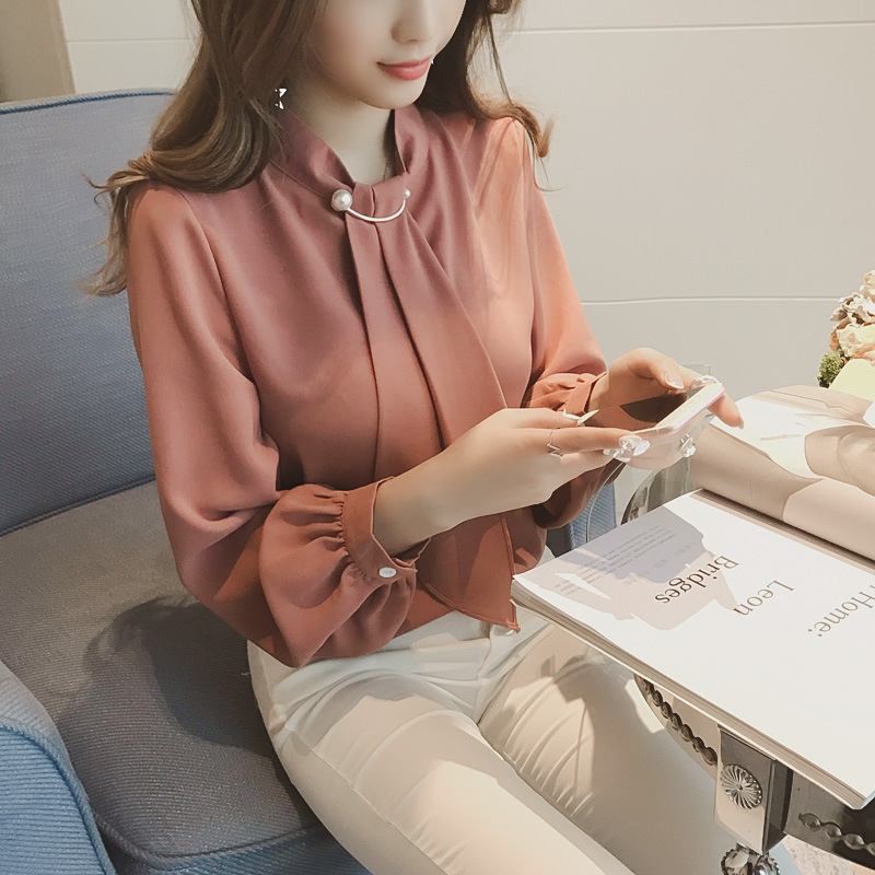 Autumn 2019 Casual Korean Women Chiffon Blouse Loose White Shirt Long Sleeve Shirt Fashion Women Streetwear Elegant Ladies Tops