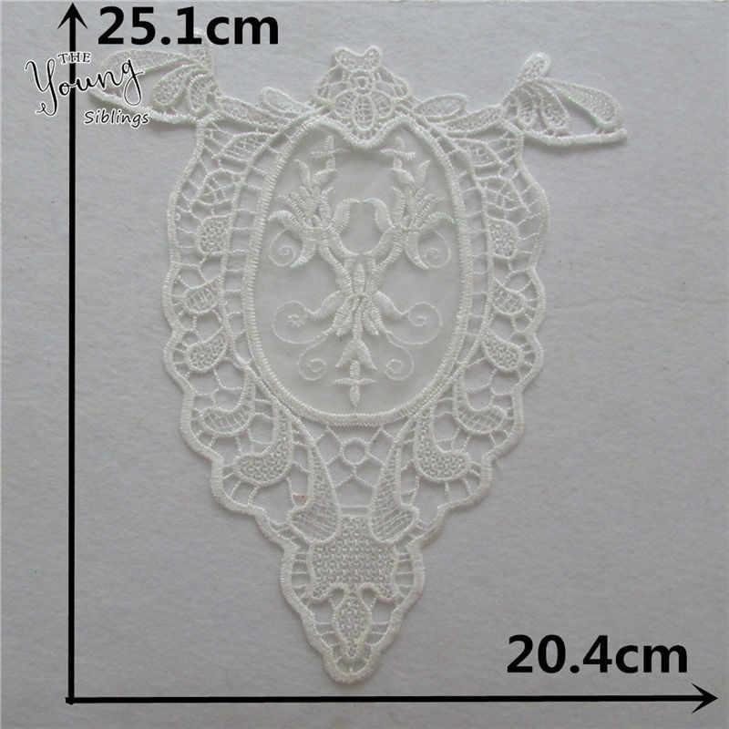 Más vendido flor bordado cuello de encaje DIY Venice apliques decorativos bordado escote costura tela Ropa Accesorios