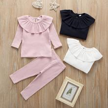 Get more info on the Soft Baby Girl Clothes 2Pcs Set Newborn Clothes Baby Long Sleeve Solid Tops+ Cotton Pants Outfits 9.24