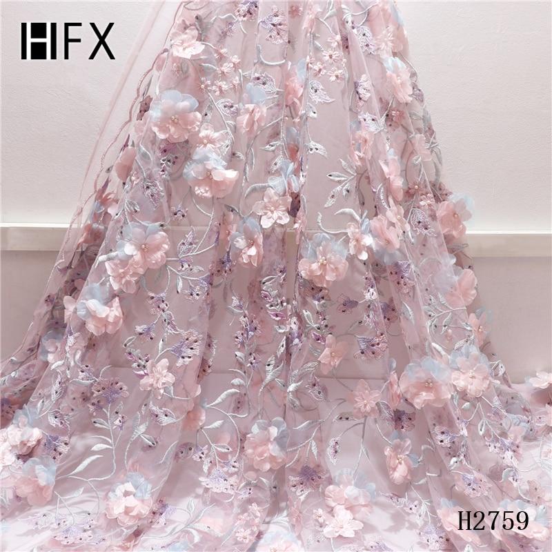 HFX 2019 Nuovo stile Francese tessuto di pizzo netto 3D fiore di tulle Africano tessuto di pizzo con pietre di alta qualità del merletto Nigeria tessuto H2759-in Pizzo da Casa e giardino su  Gruppo 1
