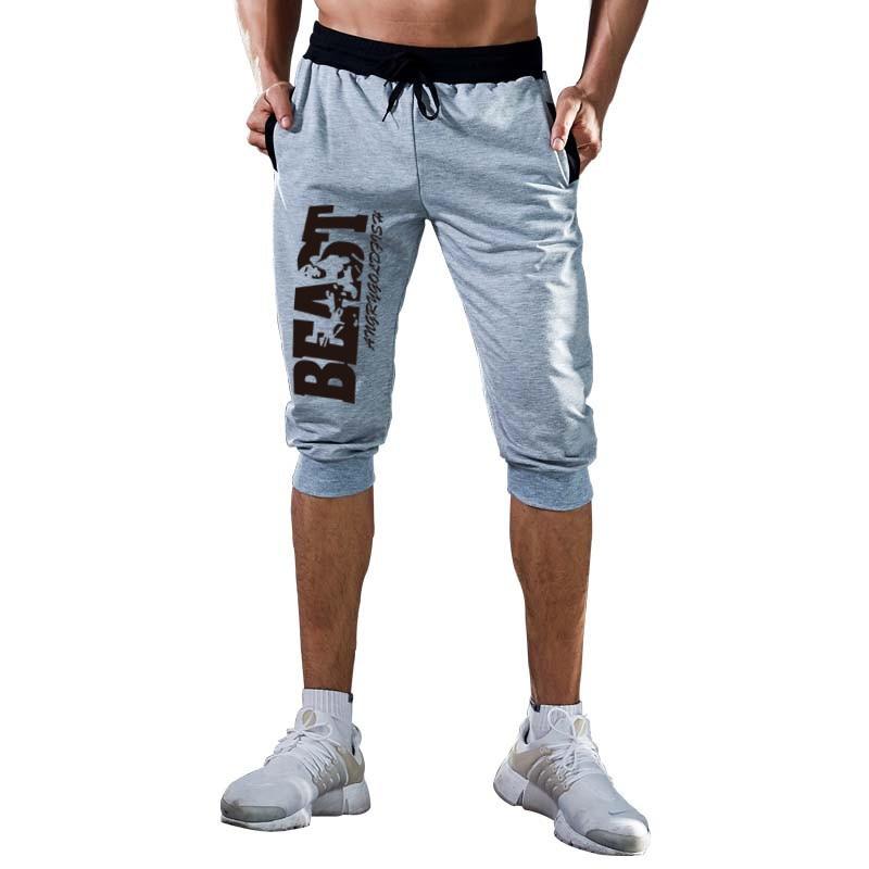2019 Hot-Selling Summer New Man's Shorts Casual Shorts Fashion 3/4 BEAST Print Sweatpants Fitness Short Jogger M-3XL