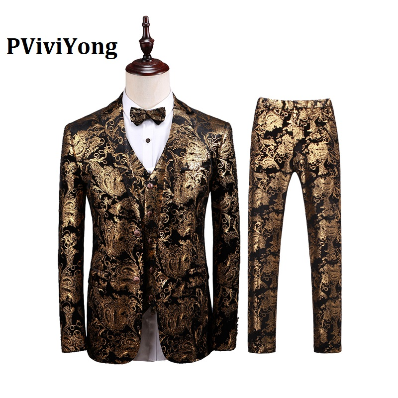 PViviYong Brand 2019 High Quality Suit Men,Suitable Wedding Local Tyrants Gold Series Suit 3 Piece (Jackets + Vest + Pants) T377