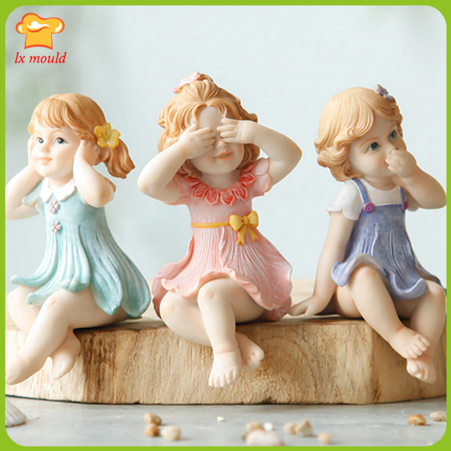 Elf Angel Silicone Mould. Don't Listen. Don't Look. Don't Say Gypsum Diy Resin Decorative Doll Mold