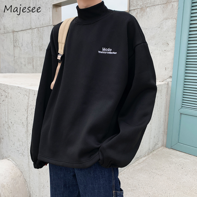 Black Hoodie Men Plus Size Turtleneck Thicker Letter Winter Clothes Mens Hoodies Pullover Korean Fashion Hip Hop Streetwear Warm