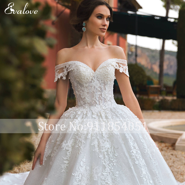 EVALOVE Gorgeous Appliques Royal Train A-Line Wedding Dress Sweetheart Neck Lace Up Beading Sparkly Tulle Princess Bridal Gown 5