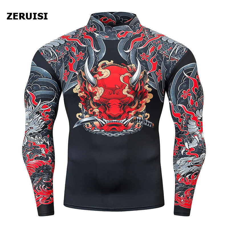 Brand High collar Streetwear Compression Shirts Men Bottoming Long Sleeve T Shirt Men Fitness Tight Rashgard Top Counter Cursor