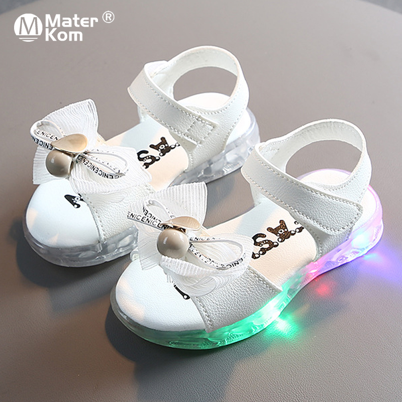 Size 21-30 Princess Shoes Girls Luminous Sandals For Baby Breathable Led Light Up Shoes Children Anti-slippery Glowing Sandals