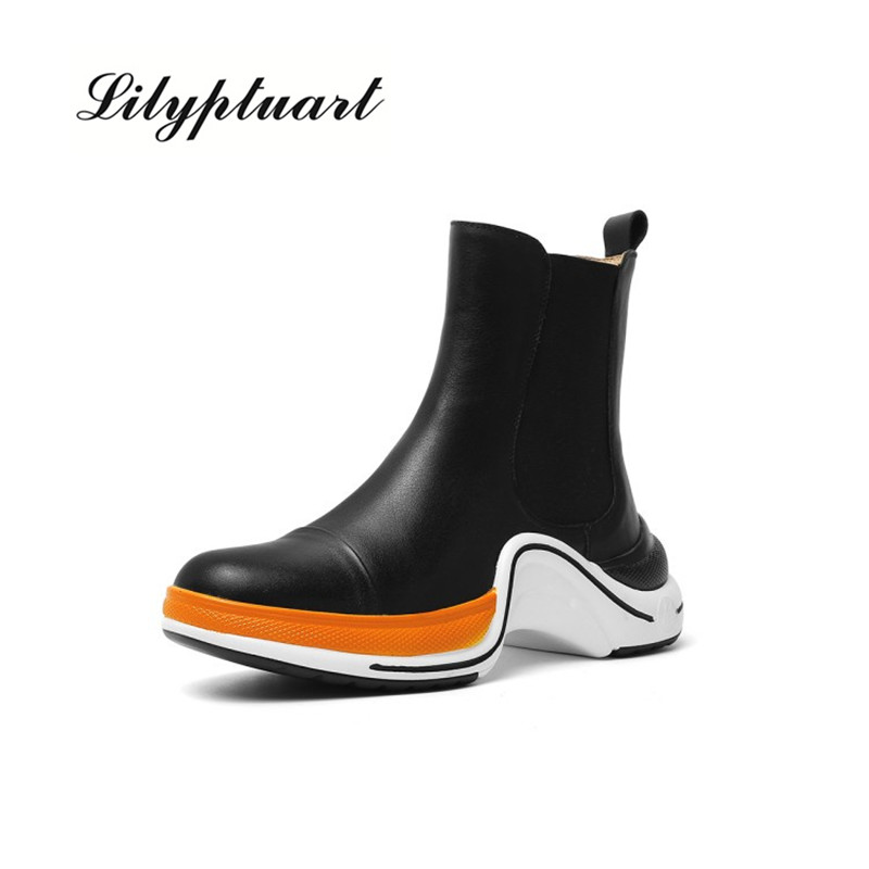 2019, zapatos de cuero genuino de alta calidad, botines para mujer, botas de punta redonda para otoño e invierno, zapatos casuales cómodos para mujer Moda Zapatos Mujer 2019 primavera nuevo Casual clásico Color sólido PU zapatos de cuero mujer Casual blanco zapatos zapatillas