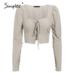 Image 5 - Simplee 빈티지 레이스 업 버튼 여성 블라우스 셔츠 패션 퍼프 슬리브 솔리드 섹시한 숙녀 블라우스 셔츠 캐주얼 파티 우아한 탑