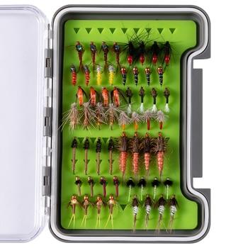 Bassdash Trout Steelhead Salmon pesca moscas surtido 56 piezas, Kit de señuelo de mosca con caja de mosca