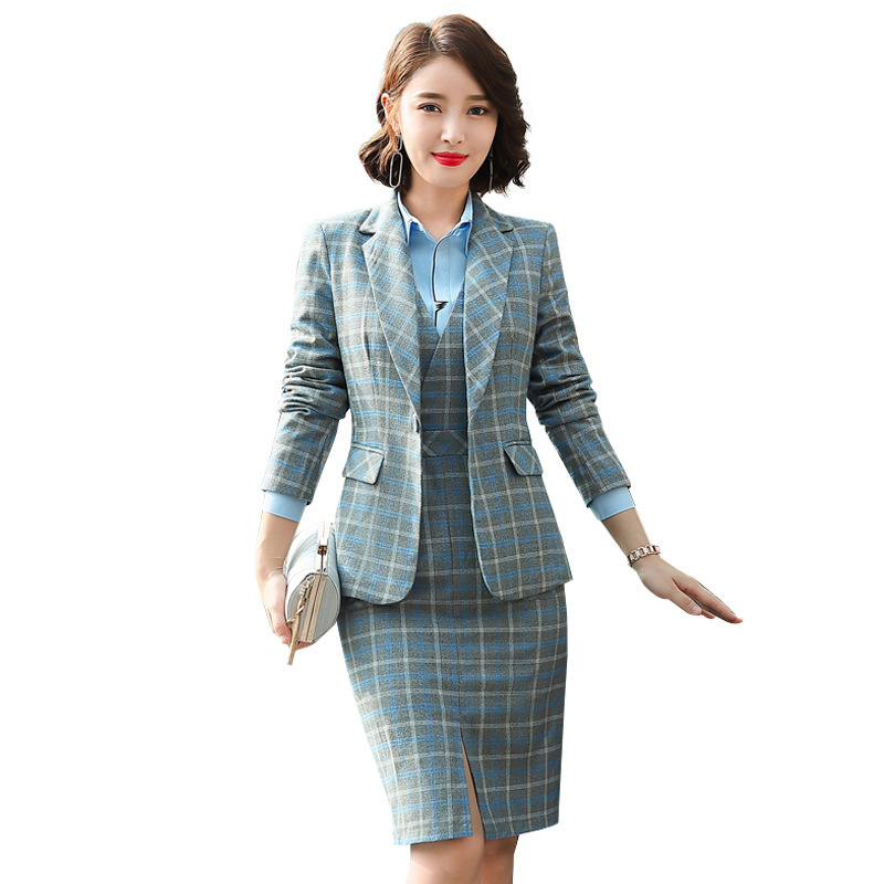 S-5XL Formal Dress Blazer Women Dresses With Jacket Women's Plaid Dress Suit Set Office Wear Work For Ladies Evening Costumes