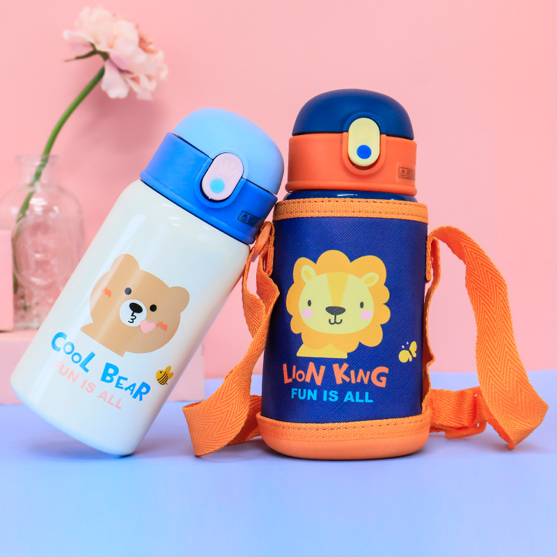 400ml Kids Thermos Mug With Straw Stainless Steel Cartoon Vacuum Flasks Children Cute Thermal Water Bottle Tumbler Thermocup