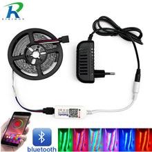 5 м 10 м 15 м Светодиодная лента RGB 5050 SMD 2835 гибкая лента светодиод RGBTape диод DC 12 В+ Bluetooth управление+ адаптер