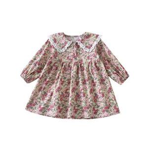 Image 5 - Bahar yeni varış kore tarzı pamuk çiçekler desen dantel yaka prenses uzun kollu elbise için sevimli tatlı bebek kız