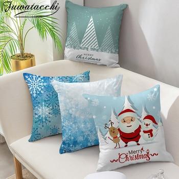 Fuwatacchi Christmas Style Cushion Cover Snowman Santa Claus Deer Pillow Cover Home Sofa Blue Decorative Throw Pillowcase christmas santa deer pattern decorative stair decals 6pcs
