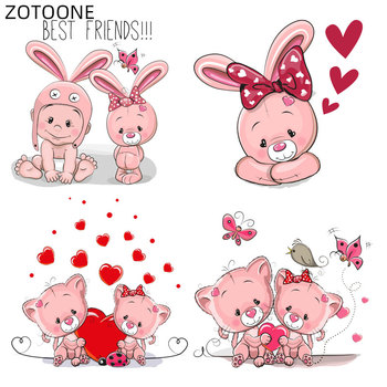 ZOTOONE Cartoon Pink Cat Patches Iron on Heat Transfer for Clothes DIY Applique Rabbit Patch for Kids Ironing Vinyl Stickers H image