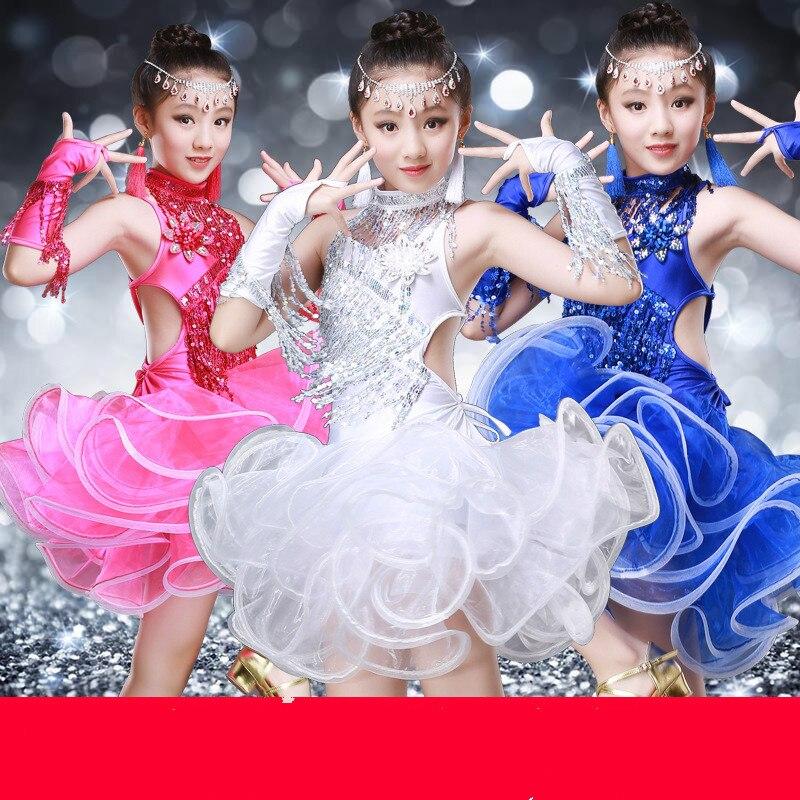 Girls Latin Dance Skirt New Style Children's Performance Female Tassels Sequins Contests Latin Suit Girls Dance Performance