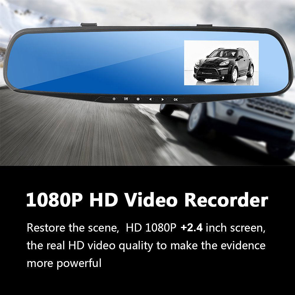 USB 2.0 Car DVR 2.4 Inch Built-in Camera Dash Cam Replacement Night Vision Set Rear View Mirror 12-24V Accessories