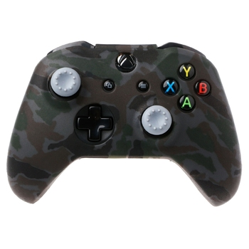 Camouflage Silicone Gamepad Cover + 2 Joystick Caps For XBox One X S Controller 2