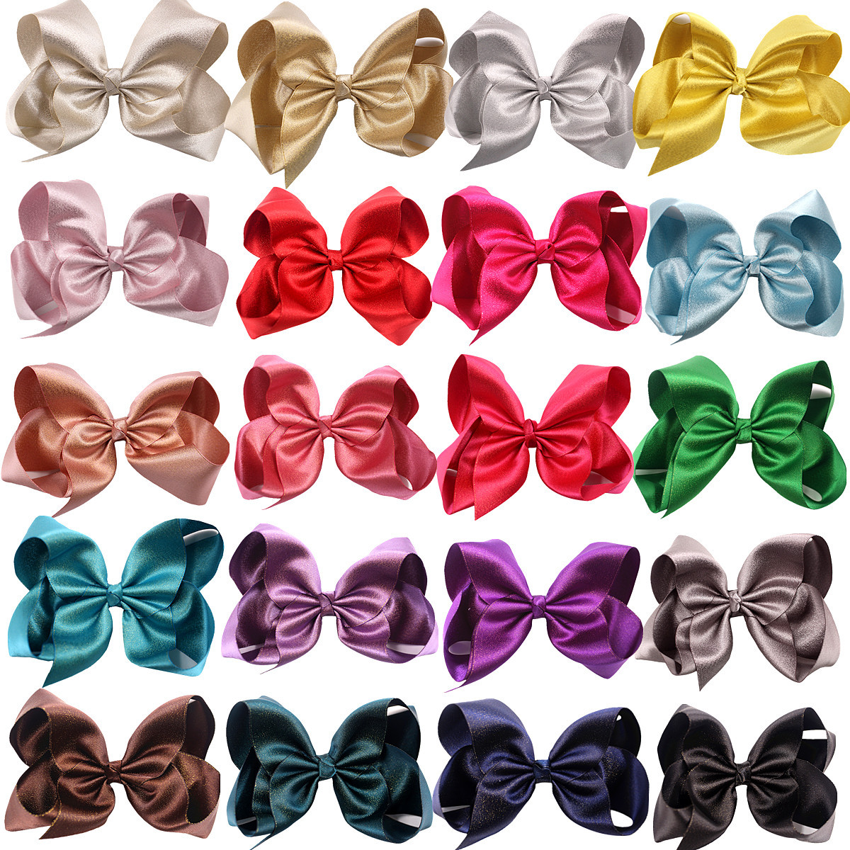 6 Inch Children Bow Barrettes INS Hot Selling Gold And Silver Weft Webbing Bubble Flower Headdress