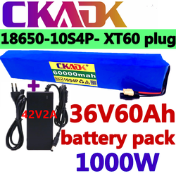 36V 10S4P 60Ah battery pack 1000W high power battery 42V 60000mAh Ebike electric bicycle BMS 42v battery with xt60 plug+charger