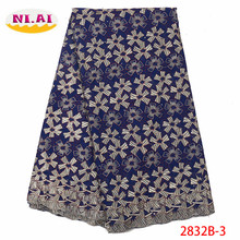 NIAI African Dry Lace Fabric 2019 High Quality Swiss Voile In Switzerland Nigerian Cotton For Wedding XY2832B-3
