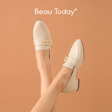 Loafers Pointed-Toe Dress-Shoes Buckles Slip-On Women Calfskin Beautoday with for Handmade