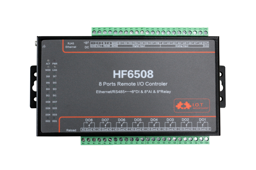 HF6508 Industrial 8 DI 8 DO 8 Way IO Controller Ethernet RS485 8CH Remote Relay Ethernet Remote Controller