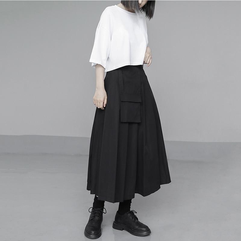 [EAM] Womenwhite Brief Solid Color Cotton Big Size Short T-shirt New Round Neck Half Sleeve Fashion Spring Summer 2020 1U328 5