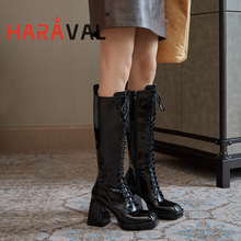 Shoes Women Haraval-Boots Boot-E51l Platform Spring High-Heel Autumn Patent Leather Winter