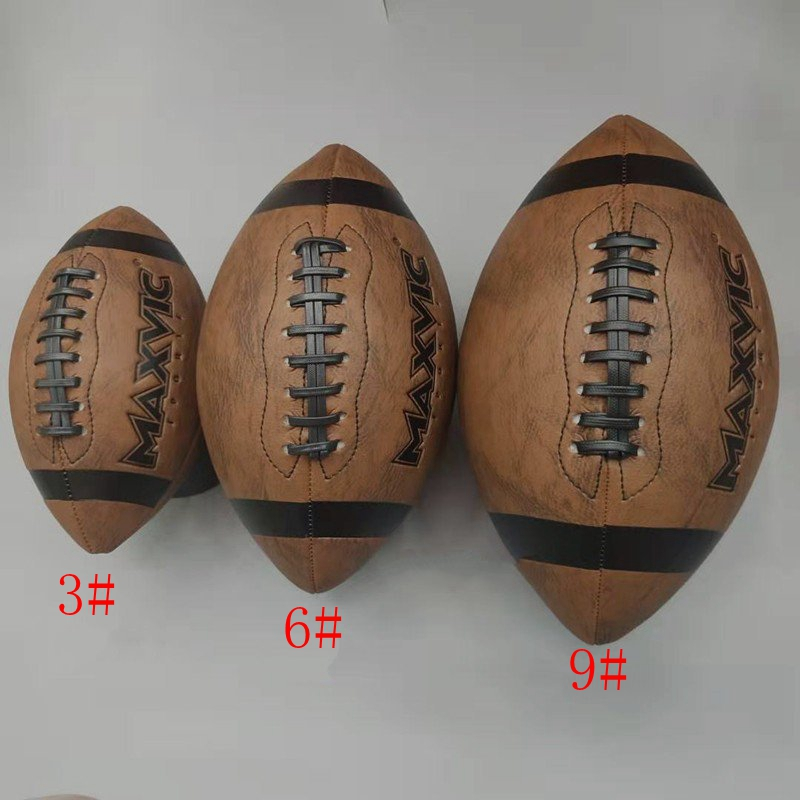 New High Quality Size 3/6/9 American Football Leather Retro Soccer Youth Adult Professional Training Ball