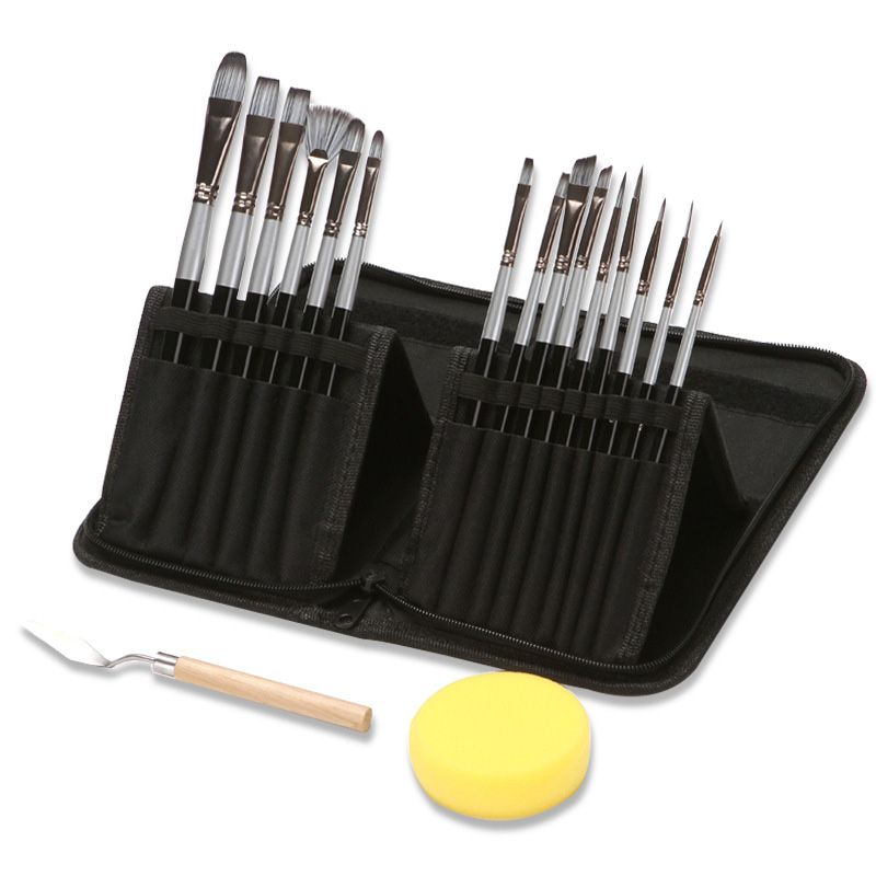 Oil Large Flat Brushes Set Painting for Acrylic Watercolor and Gouache Bag