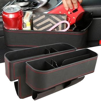 Siedzenie samochodowe ze skóry PU Gap Storage uniwersalny fotel samochodowy szczelinowy Organizer samochodowy pudełko do przechowywania w szczelinie obok fotela akcesoria samochodowe tanie i dobre opinie CN (pochodzenie) Pudełko torba do szczeliny w fotelu 16cm*22cm*7 5cm Car Seat Gap Organizer Car Storage Pockets Car Seat Crevice Storage Box