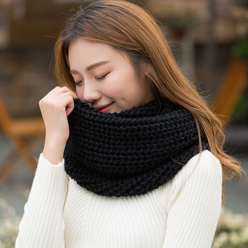 Autumn And Winter Fashion Magazine Style Warm Solid Color Scarf-around 2 Circle Men And Women-Couples Students Thick Wool Scarf