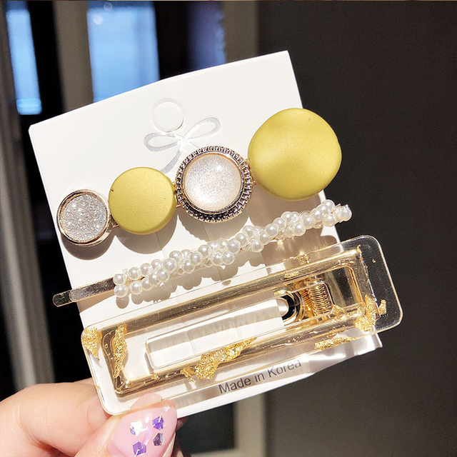 3PCS/Set Korean Acrylic Hair Clips For Women Hair Accessories Fashion Jewelry Simulated Pearl Hairpins Geometric Gold Barrettes 6