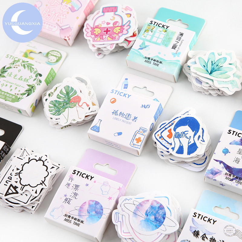 YUEGUANGXIA 46Pcs/box Girls Generation Scrapbooking Stickers Bullet Journal Supplies Kawaii Kids Stationary Sticker Flakes