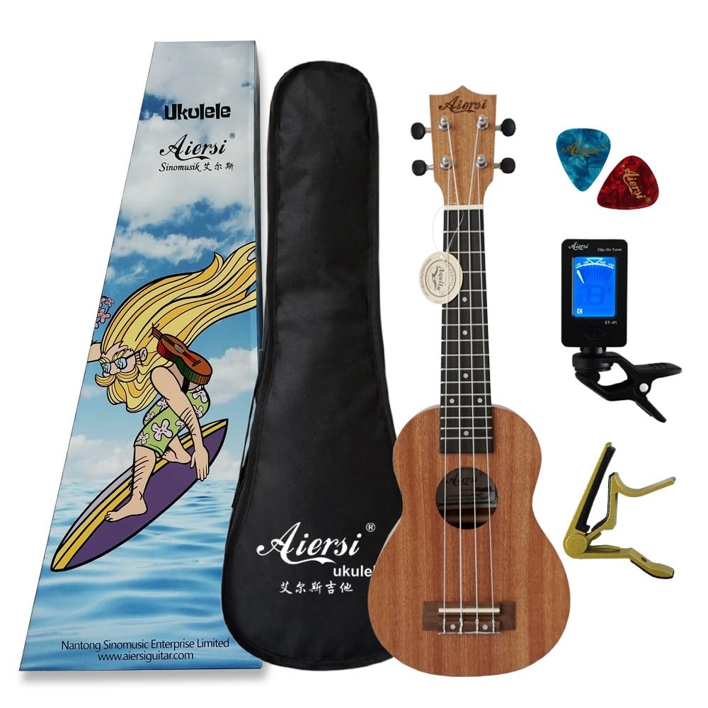 Aiersi brand 21 inch Mahogany Soprano Ukulele Guitar Sapele 4 Strings Hawaiian ukelele