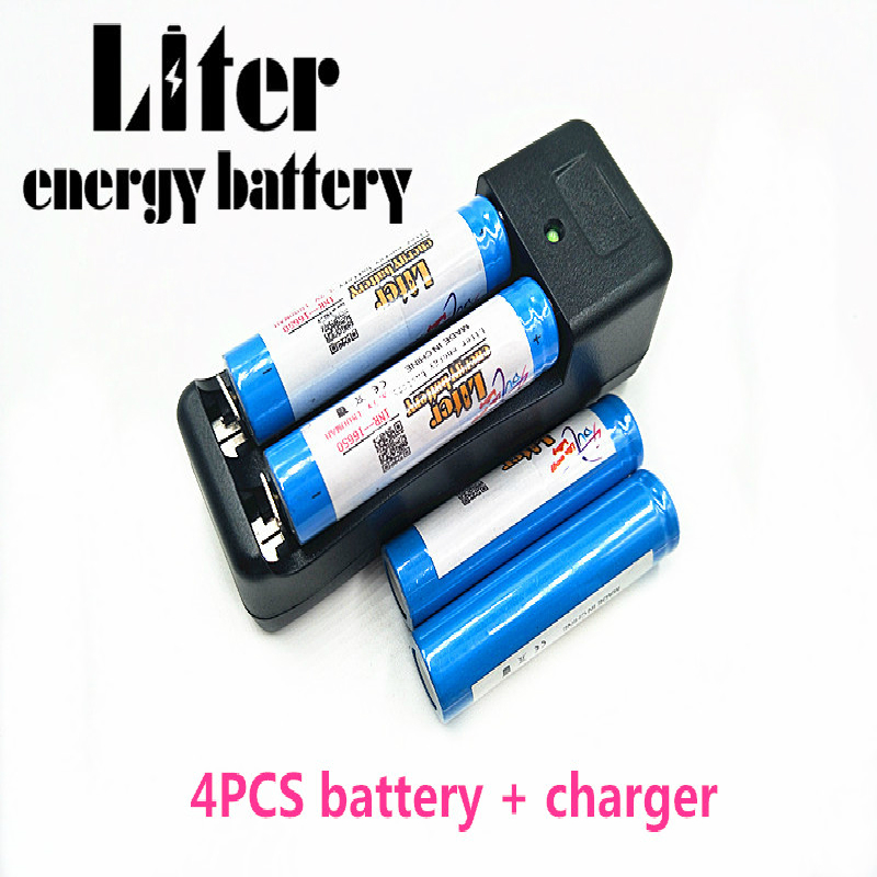 Liter energy <font><b>battery</b></font> <font><b>16650</b></font> 1800mAh 3.7V Rechargeable Li-ion <font><b>battery</b></font> + Travel Charger Can be used to LED Flashlight image