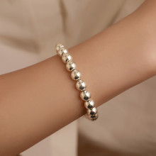 Women Fashion Personality Couple Simple Beaded Bracelet Copper Coated Beads Accessories Gift