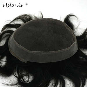 Hstonir Mens Toupee 100% Natural Straight Indian Remy Hair Men's Toupee System H036