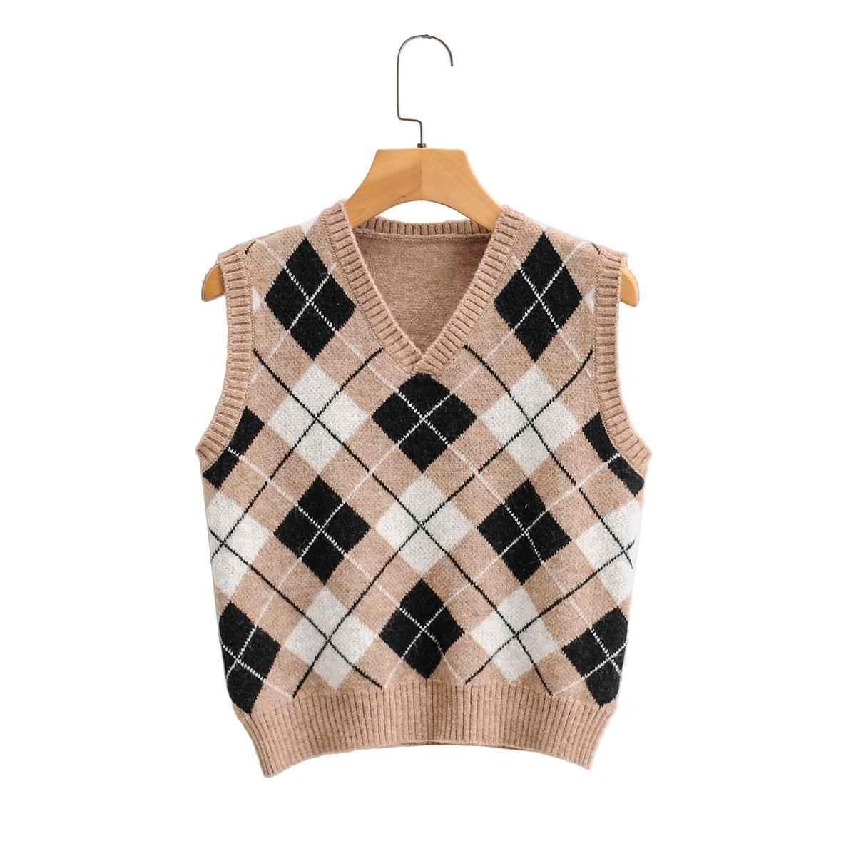 Women Sleeveless Pullover 2020 England Vintage Geometric