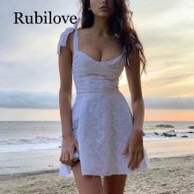 Rubilove 2019 Summer dress women sleeveless hollow out white lace mini embroidery casual female cute sundress korean