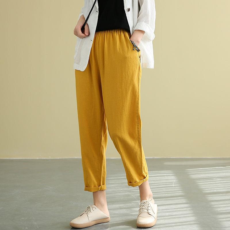 2020 Summer Arts Style Women Elastic Waist Ankle-length Loose Pants All-matched Casual Cotton Linen Harem Pants Plus Size M71